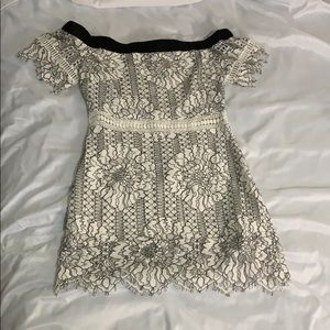 Black and white lace off the shoulder dress